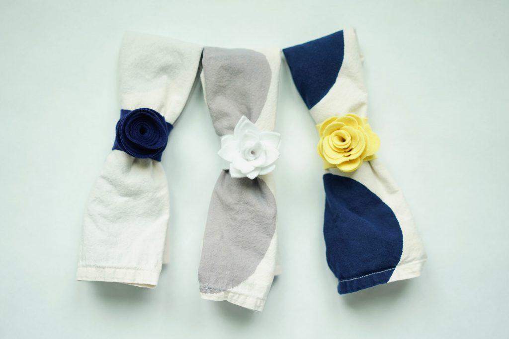 felt floral napkin rings
