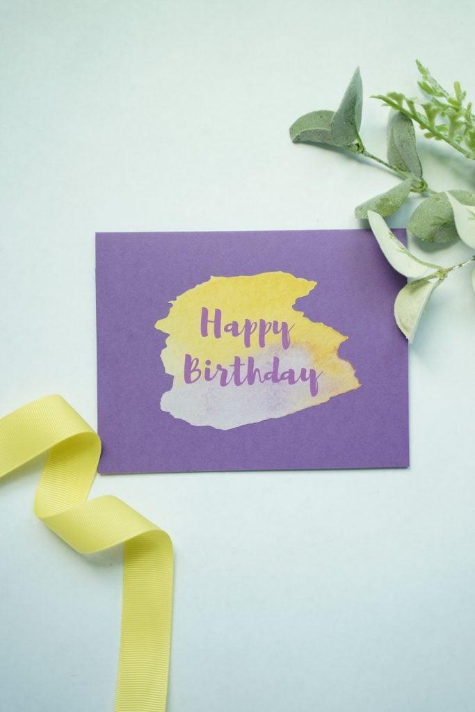 watercolor happy birthday cricut card