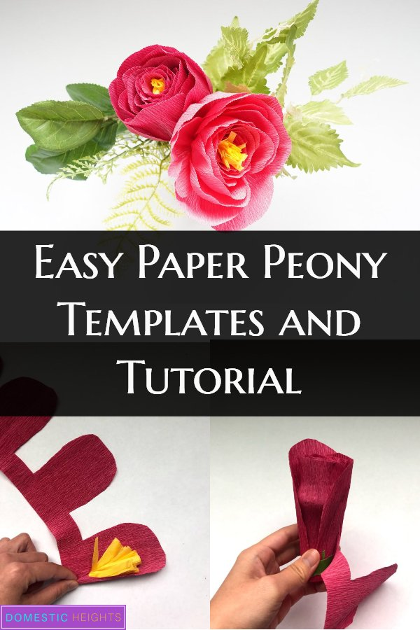 easy crepe paper peony with free templates
