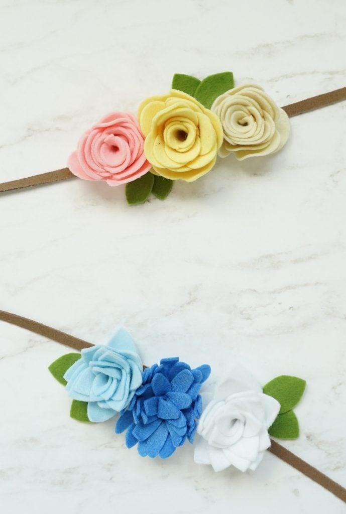 how to make felt flowers for headbands, felt flower tutorial, how to make easy felt flowers