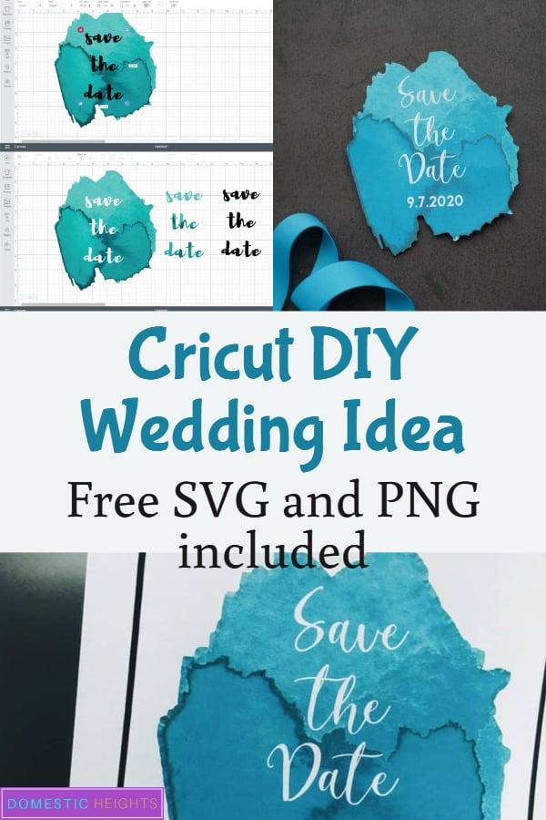 DIY wedding cricut project idea, free wedding svg, diy save the date template