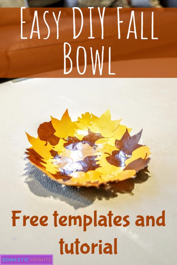 easy diy home decor, fall decor craft project, paper leaves bowl, mod podge bowl, papercraft idea