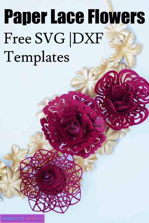 diy paper flower templates, free svg cut file for cricut flower, paper lace flowers tutorial, paper crafts