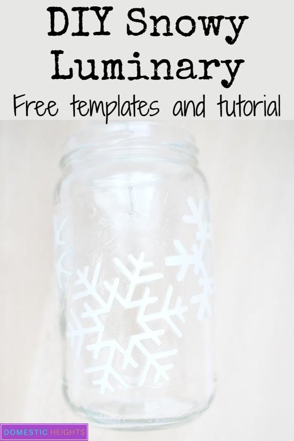 winter christmas mason jar craft, easy snowflake template, diy mason jar luminary