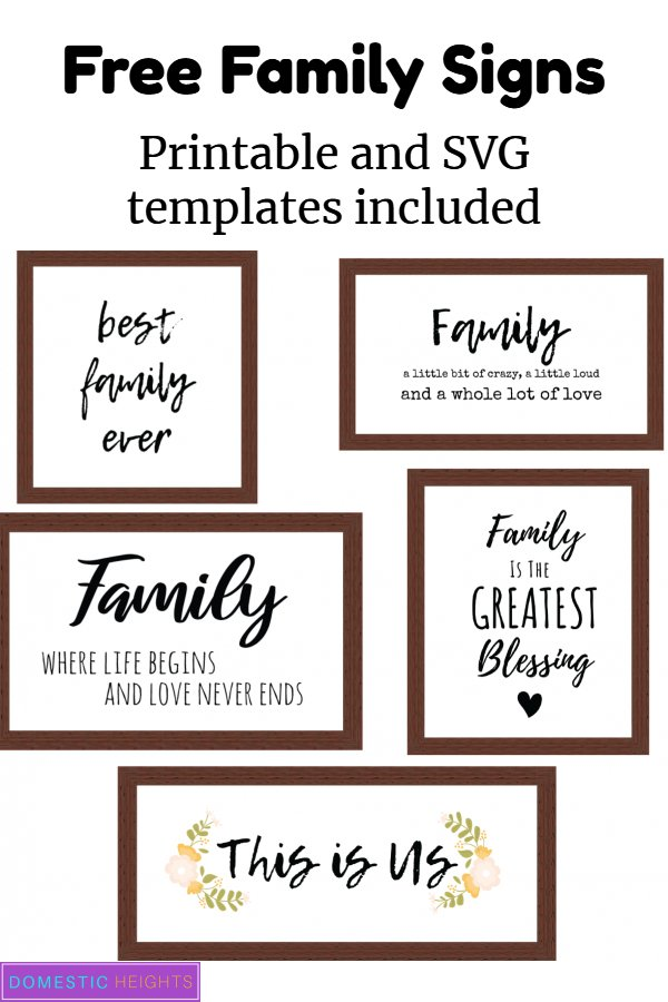 diy family signs wall hanging for home printable