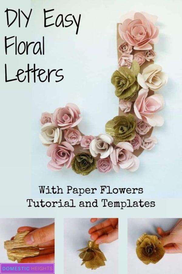 DIY paper flower letter wall art