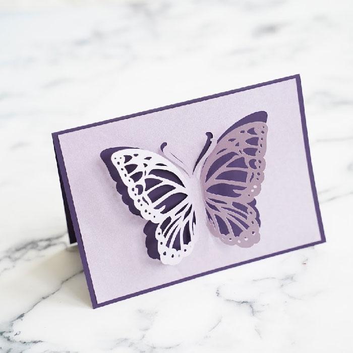 Butterfly cutout single card