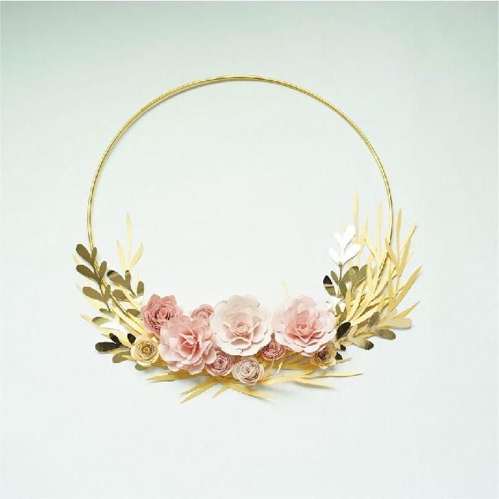 Golden ring floral wreath