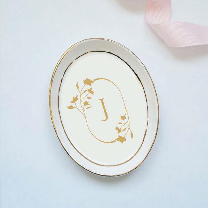 Oval Floral Monogram