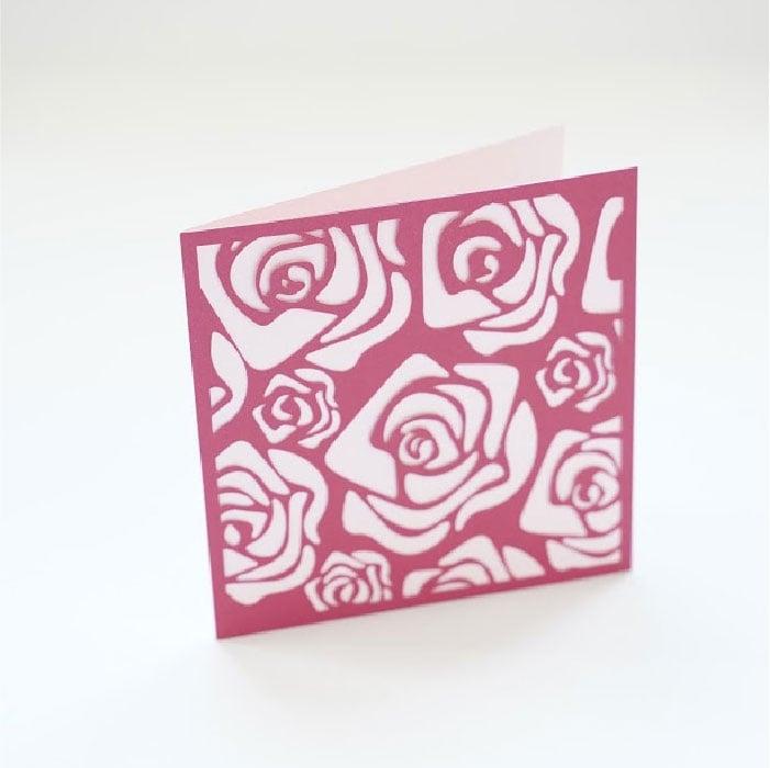 Rose pattern square card