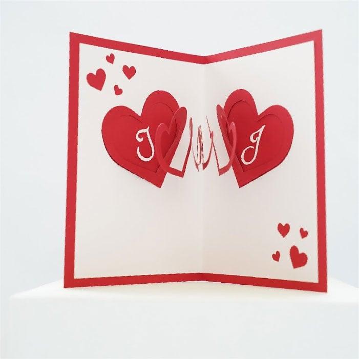 Spiral lover hearts card
