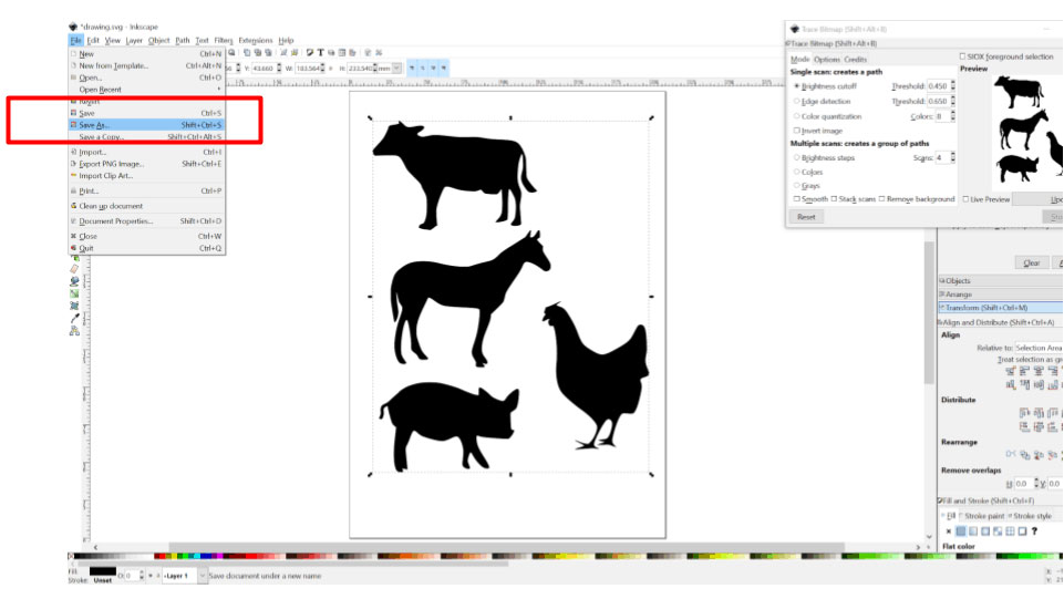 how to convert png to svg in inkscape
