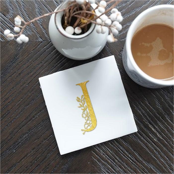 Floral Letter Monogram coaster