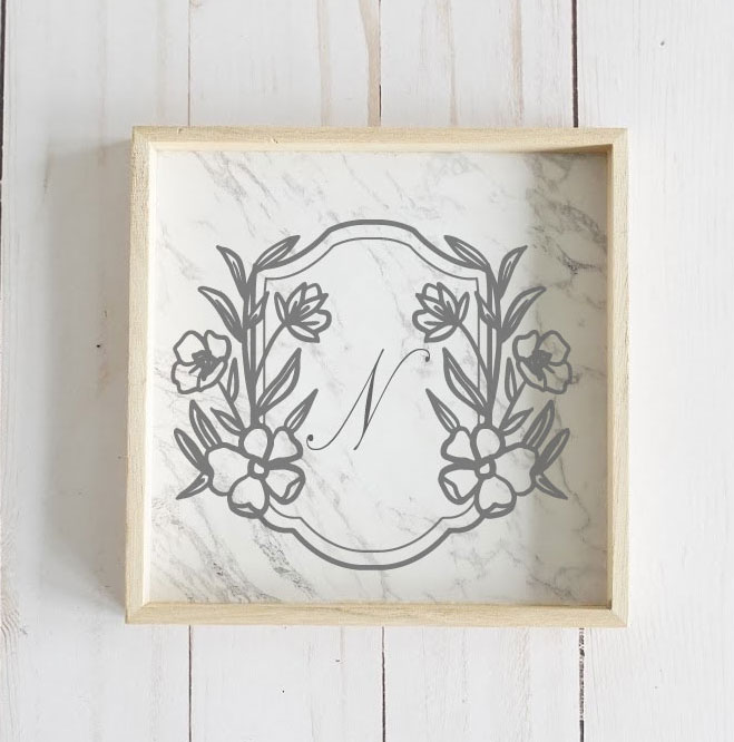 Floral Monogram frame tray