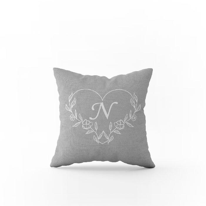 Heart monogram frame pillow