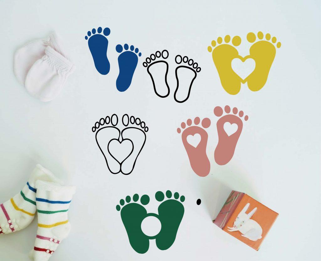 free baby feet svg cutting files