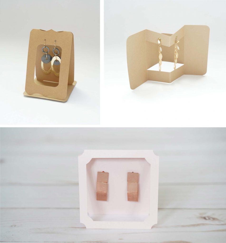 wood earring display
