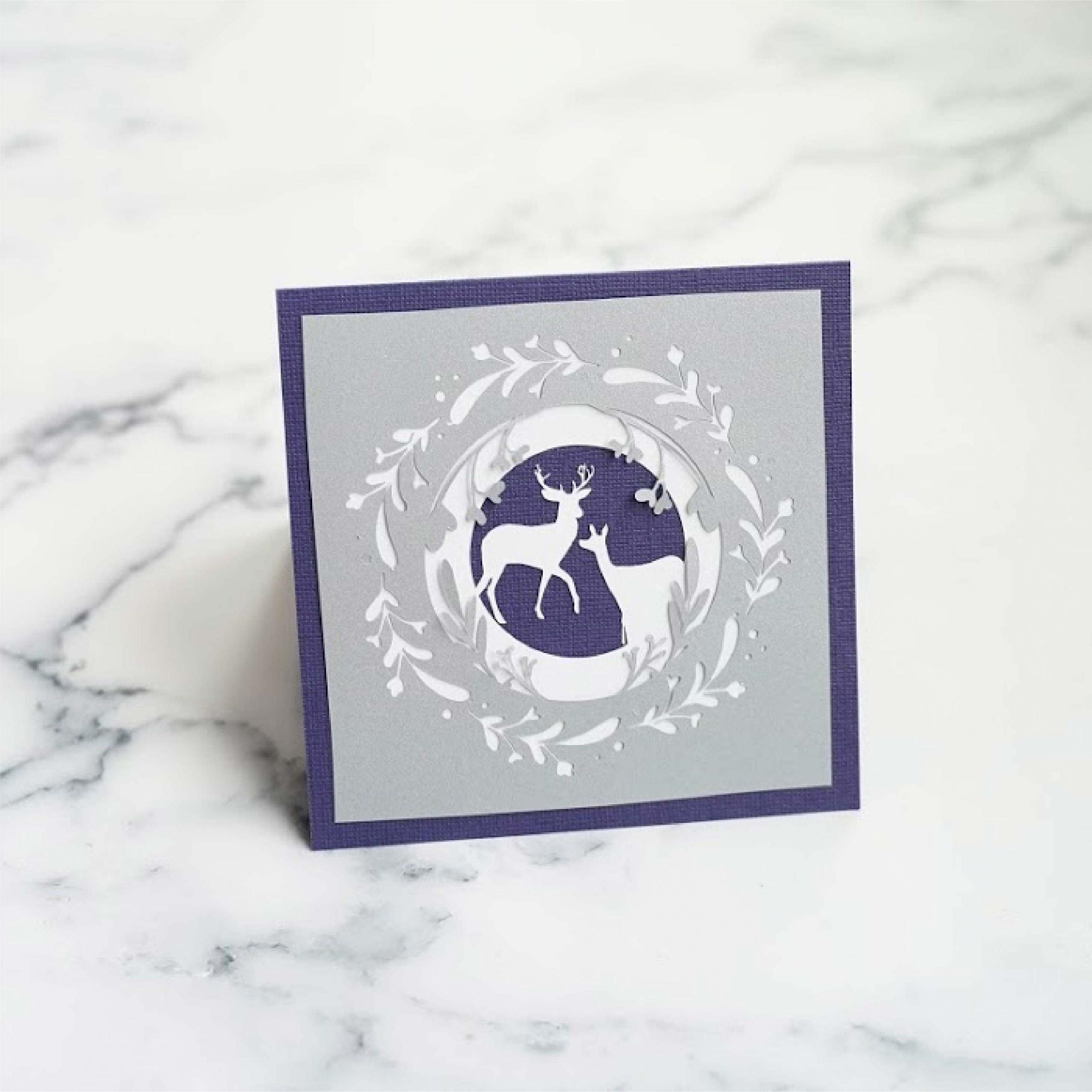Deer wreath card