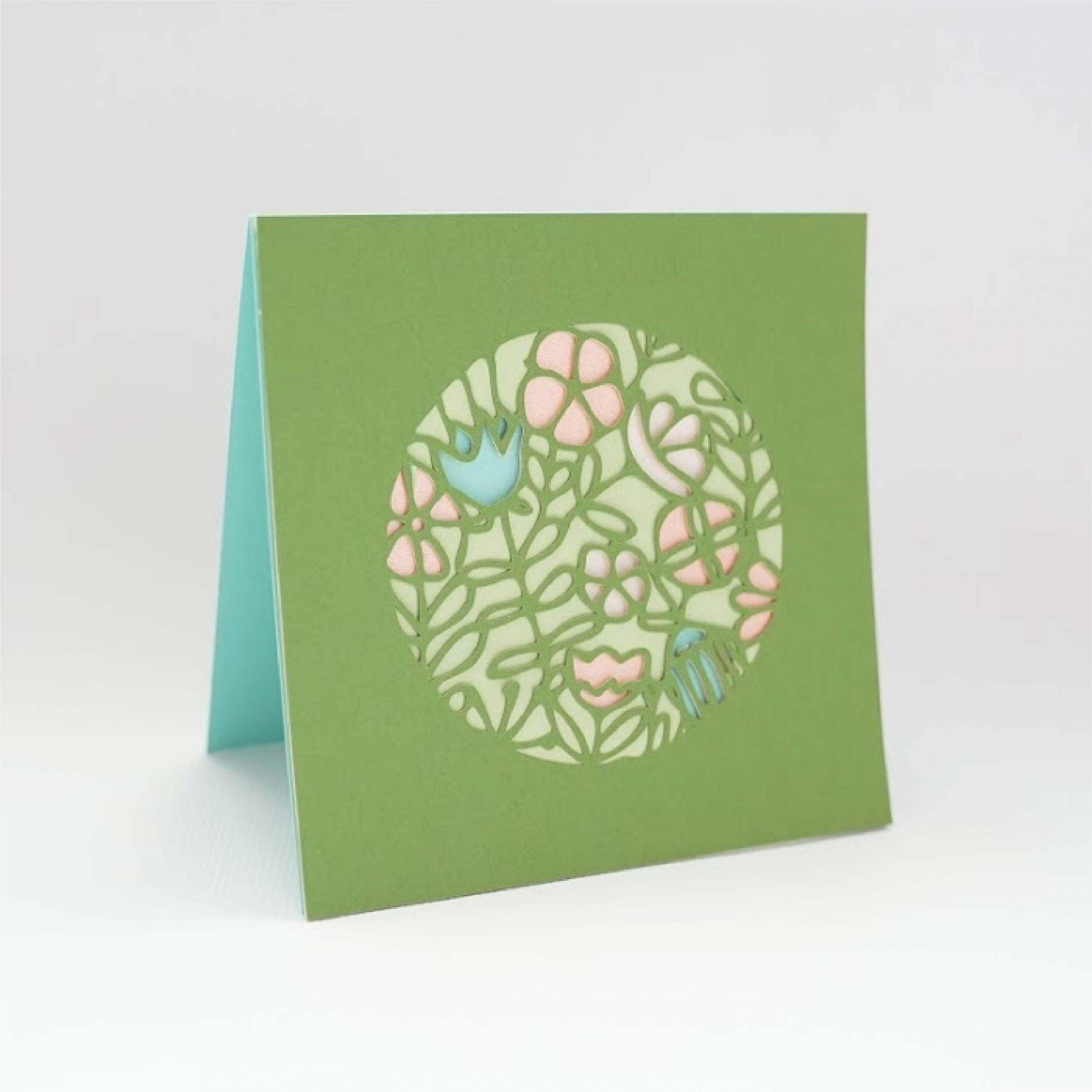 Scandi circle floral card