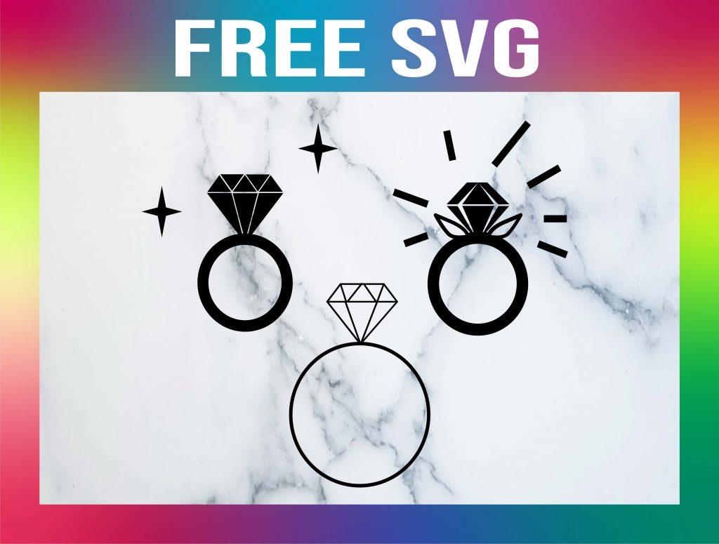 Free Diamond Wedding Ring SVG