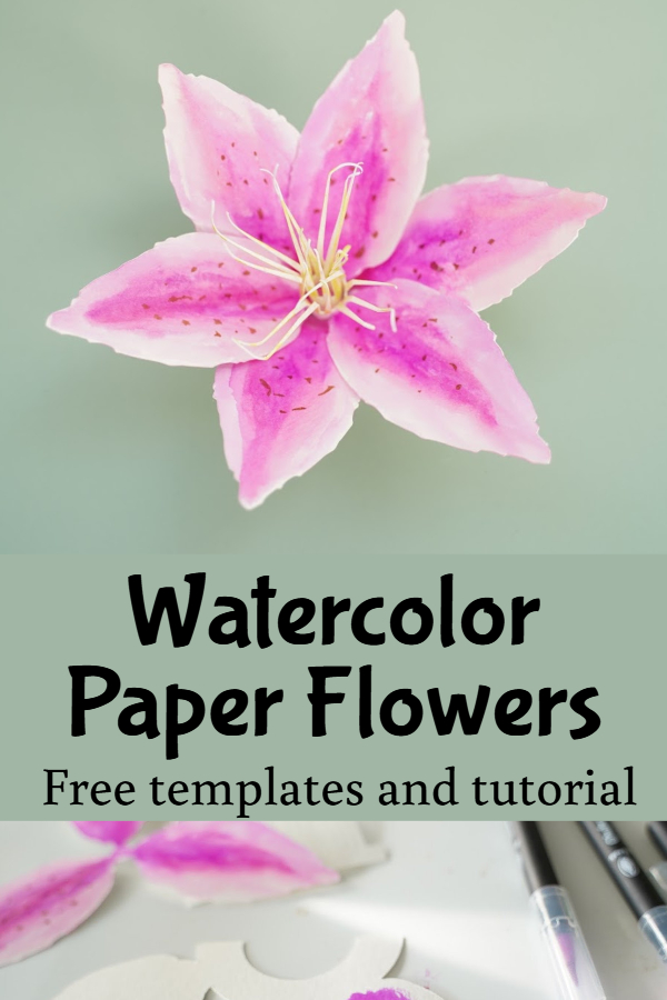 free watercolor paper flower template