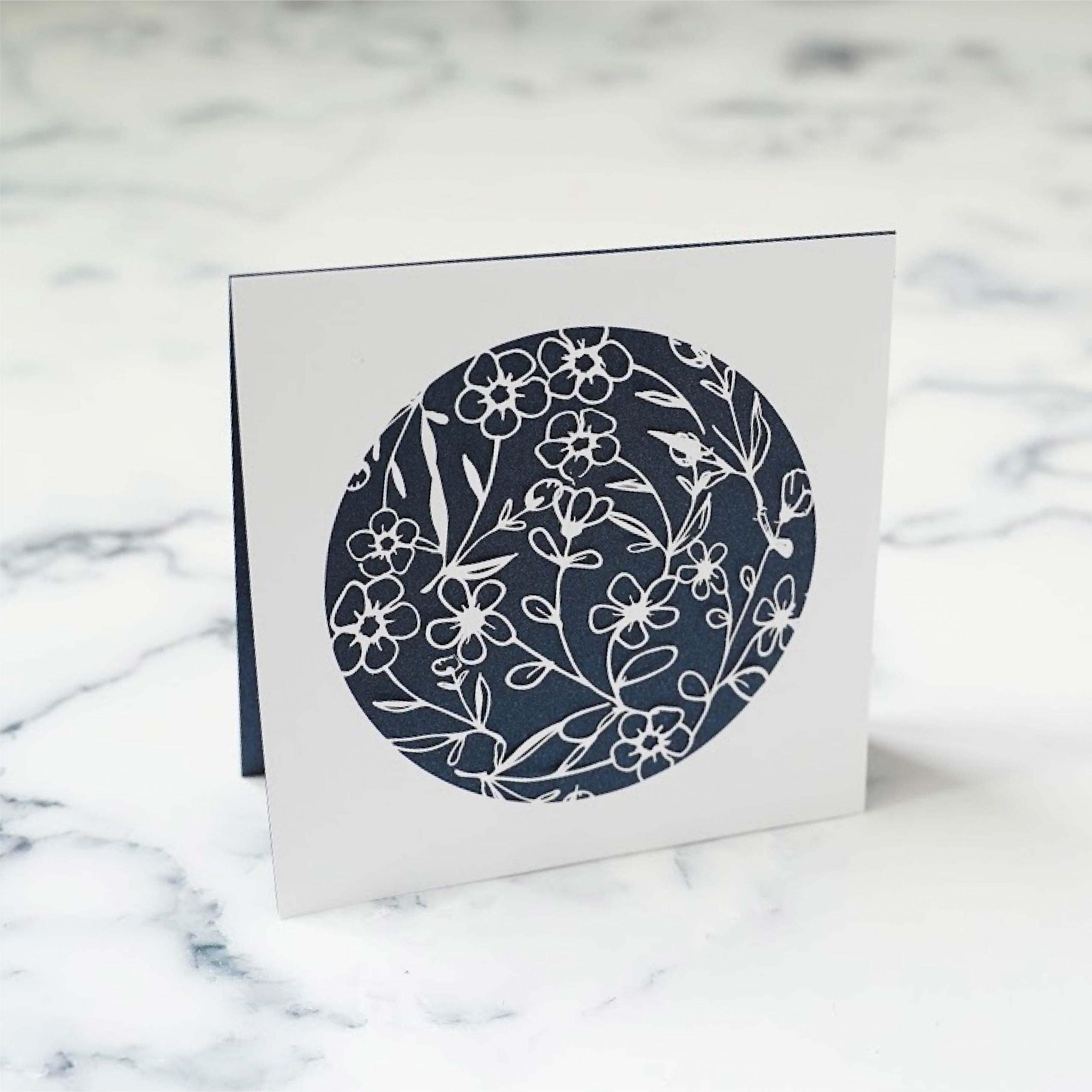 faux linocut floral card