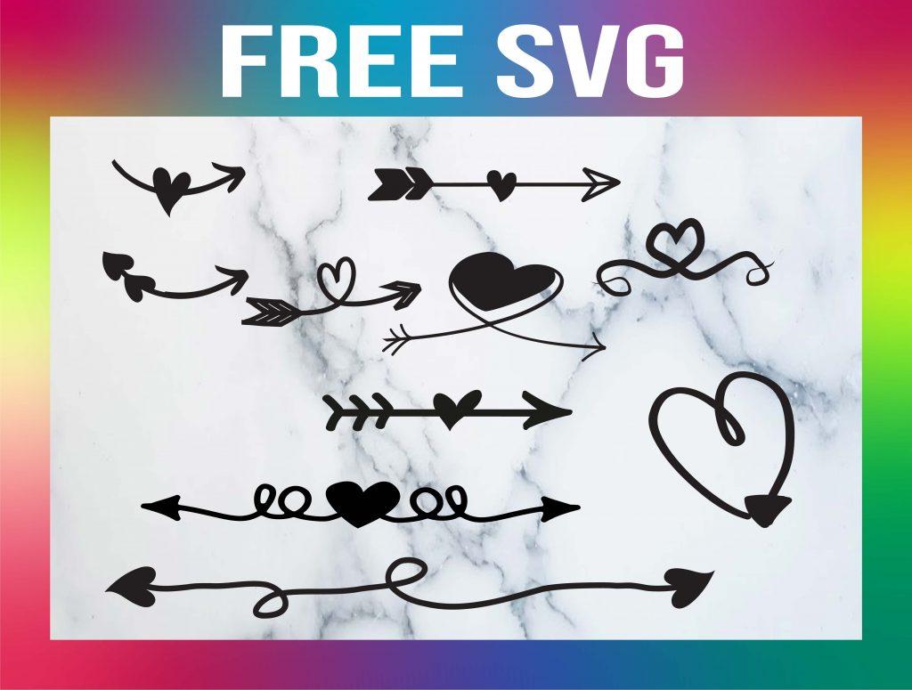 free arrow heart svg