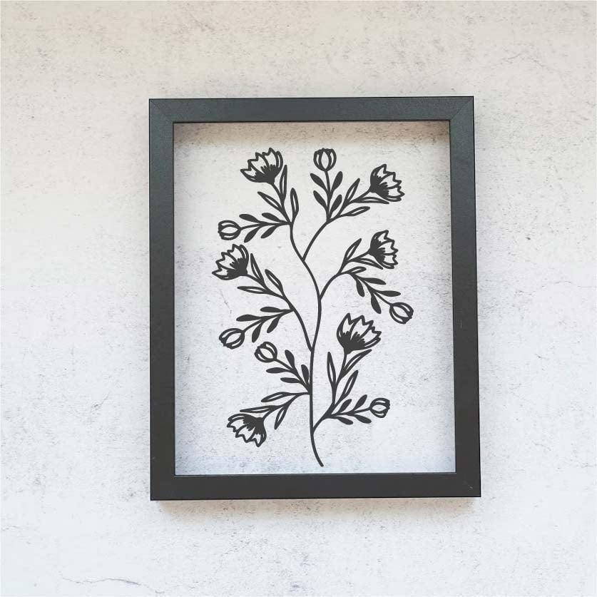 hand drawn floral wall art